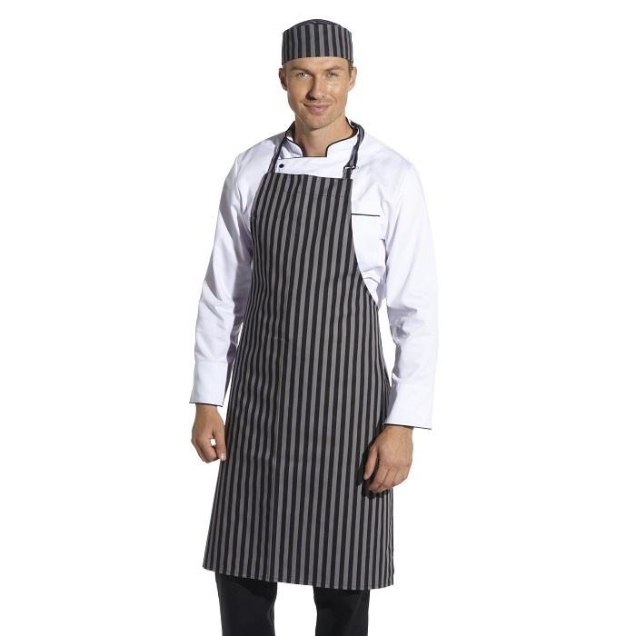 Black/Grey Striped Bib Apron