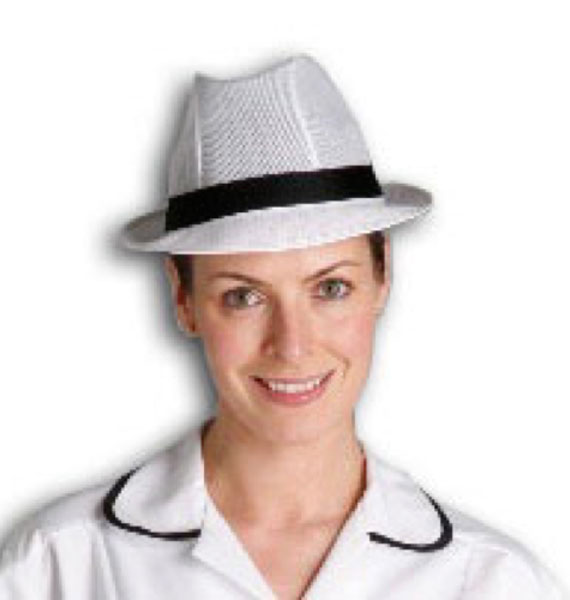White Trilby Hat with Colour Band